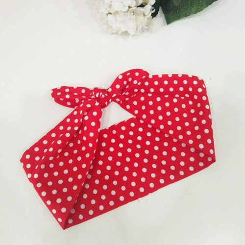 RED POLKA DOTS WIRED BANDANA ROCKABILLY HAIR TIE | POISON ARROW RETRO