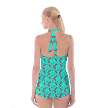 Load image into Gallery viewer, Cherry Bomb Green Boyleg Halter Swimsuit XS-3XL