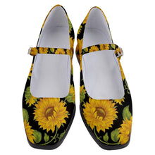 "Load image into Gallery viewer, SUNFLOWERS BLACK Women's Mary Jane Shoes 1""Heel"