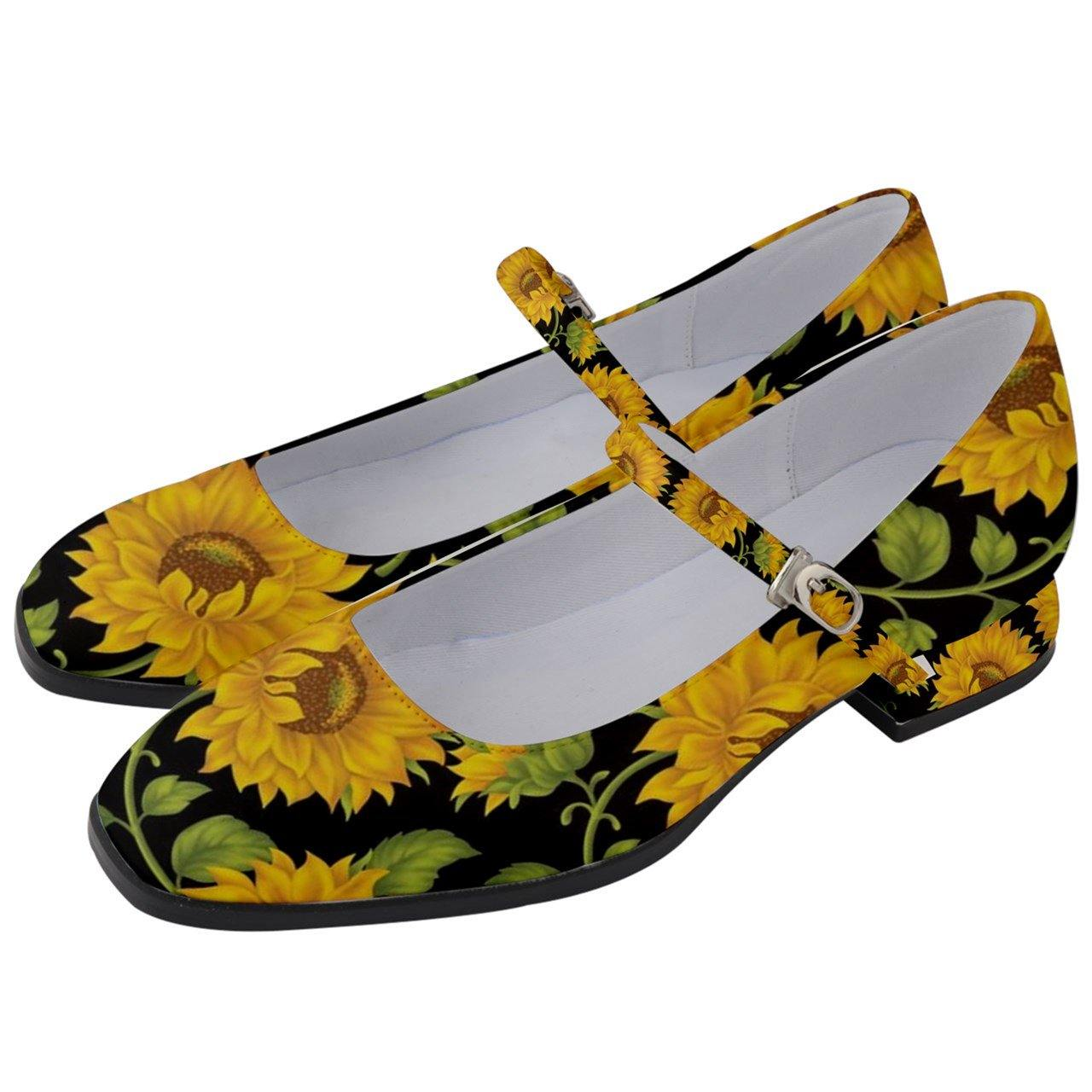 SUNFLOWERS BLACK Women's Mary Jane Shoes 1