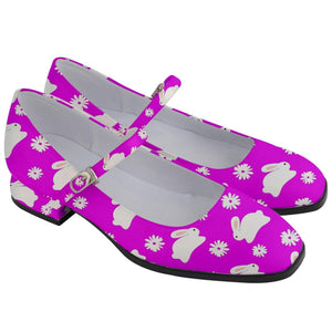 Marshmallow Bunnies Hot Pink Women's Mary Jane Shoes