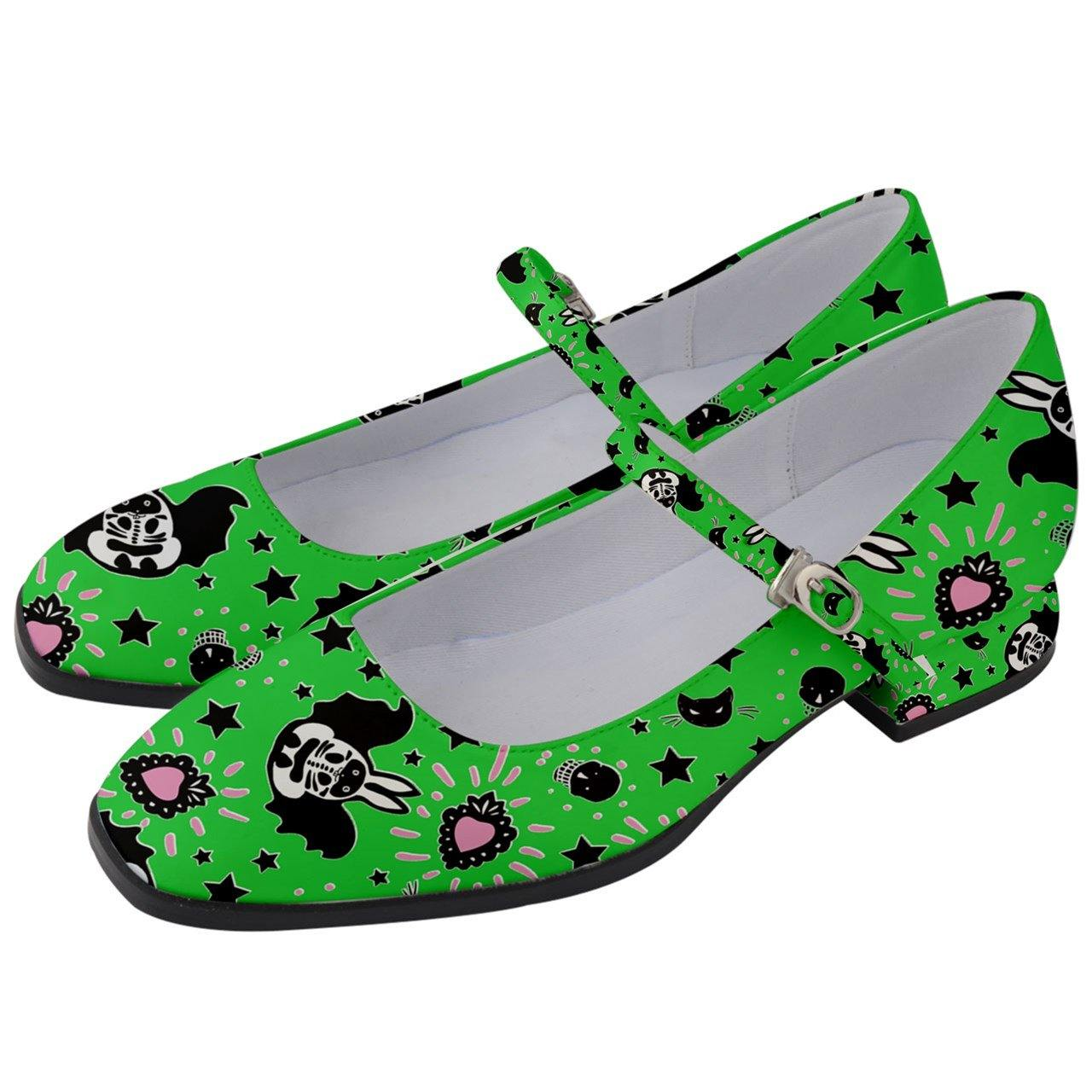 Bunny Bats Monster Green Women's Mary Jane Shoes