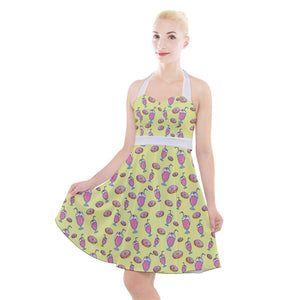 MILKSHAKE YELLOW Halter Party Swing Dress