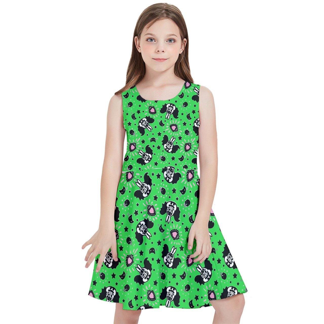 BUNNY BATS GREEN Kids' Skater Dress