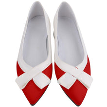 Load image into Gallery viewer, 1960S RED AND WHITE TWO TONE Women's Pointed Toe Low Bow Heels