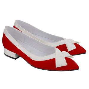 1960S RED AND WHITE TWO TONE Women's Pointed Toe Low Bow Heels