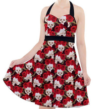 Load image into Gallery viewer, SKULLS AND ROSES Halter Party ROCKABILLY  Swing Dress