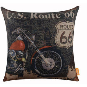 "ROUTE 66 CUSHION COVER ""HARLEY 1"""