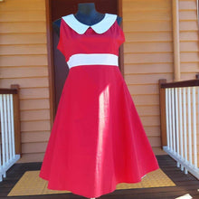 Load image into Gallery viewer, red rockabilly dress plus size