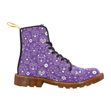 Load image into Gallery viewer, PURPLE SUGAR SKULLS Women's Lace Up Combat Boots