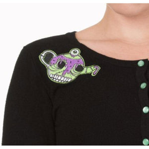 TEA FOR TWO ZOMBIE TEAPOT CARDIGAN S M ONLY