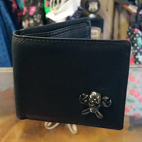 LEATHER GENUINE DESIGN MEN'S SKULL & SPANNER WALLET
