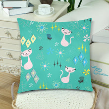 "Load image into Gallery viewer, RETRO CATS ATOMIC MCM AQUA Cushion Cover 18""x 18"" (Twin Sides) (Set of 2)"