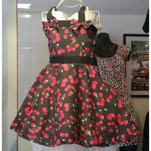Black Cherry Polka Dot Girl's Rockabilly Dresses SIZE 2 ONLY