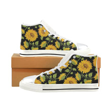 Load image into Gallery viewer, SUNFLOWERS BLACK High Top Canvas Kid's Shoes