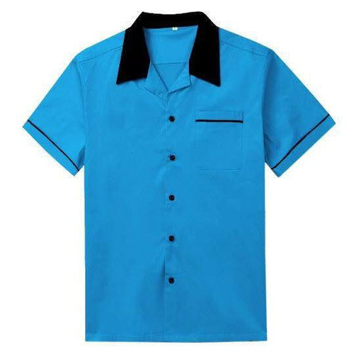 Mens Vintage Style Bowling Dress Shirt - BLUE