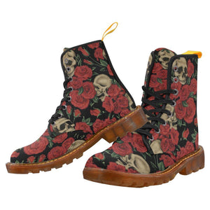 Antique Red Skulls Women's Lace Up Combat Boots