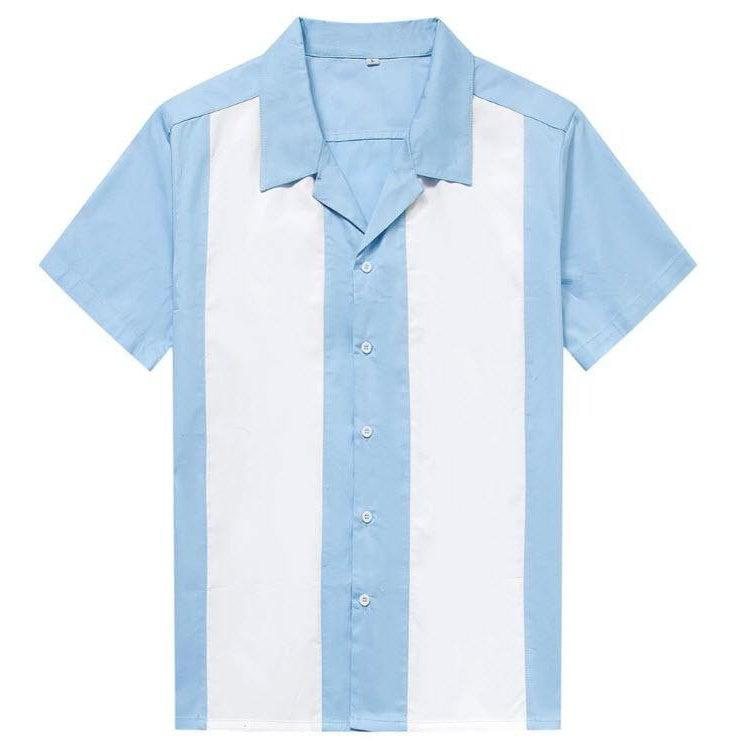 Mens Vintage Style Bowling Dress Shirt - Pale Blue White Panels