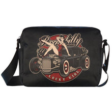 "Load image into Gallery viewer, UNISEX Crossbody Nylon Satchel Bag ""Rockabilly Lucky Girl"""