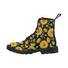 Load image into Gallery viewer, SUNFLOWERS BLACK Women's Lace Up Canvas Boots A