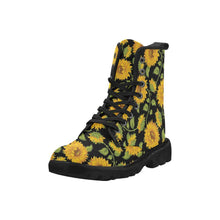 Load image into Gallery viewer, SUNFLOWERS BLACK Women's Lace Up Canvas Boots