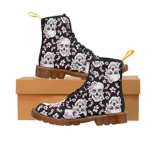 Load image into Gallery viewer, Cherry Blossom Skulls Women's Lace Up Combat Boots