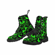 Load image into Gallery viewer, Antique Bats Green Lace Up Combat Boots