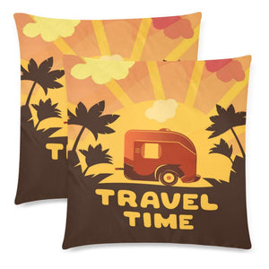 "TRAVEL TIME Throw Pillow Cover 18""x 18"" (Twin Sides) (Set of 2)"
