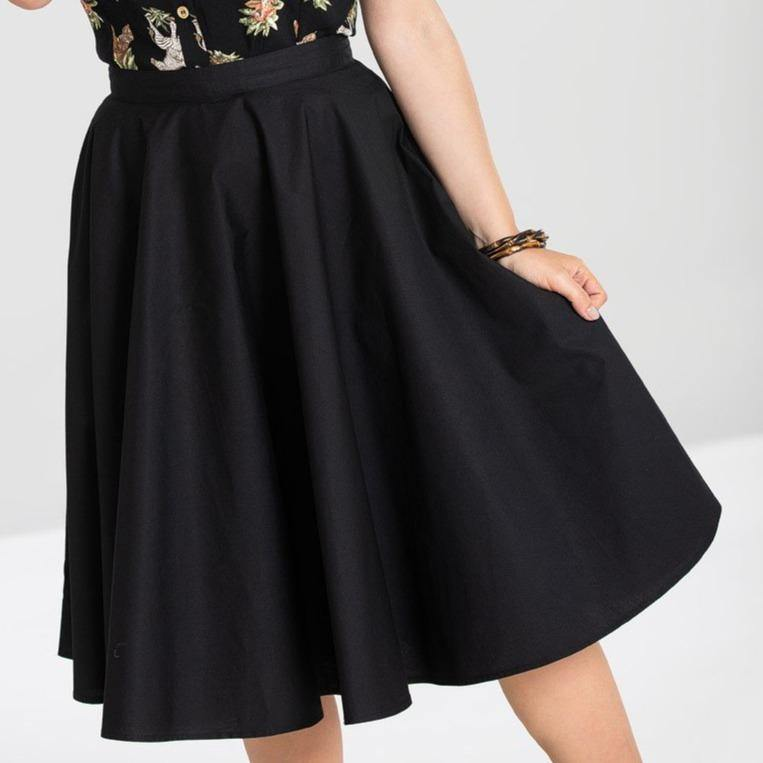 HELL BUNNY PAULA BLACK CIRCLE SKIRT