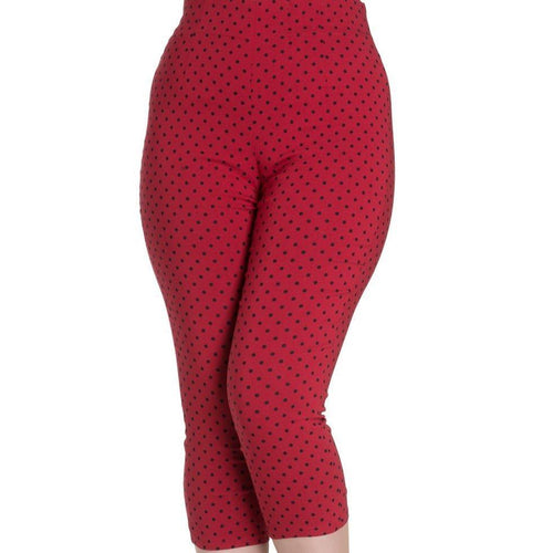 HELL BUNNY KAY RED  BLACK Polka Dot CAPRIS