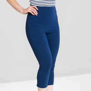 HELL BUNNY TINA CAPRI PANTS NAVY | POISON ARROW RETRO