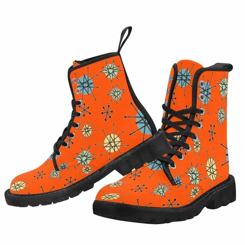 Atomic Orange Lace Up Combat Boots