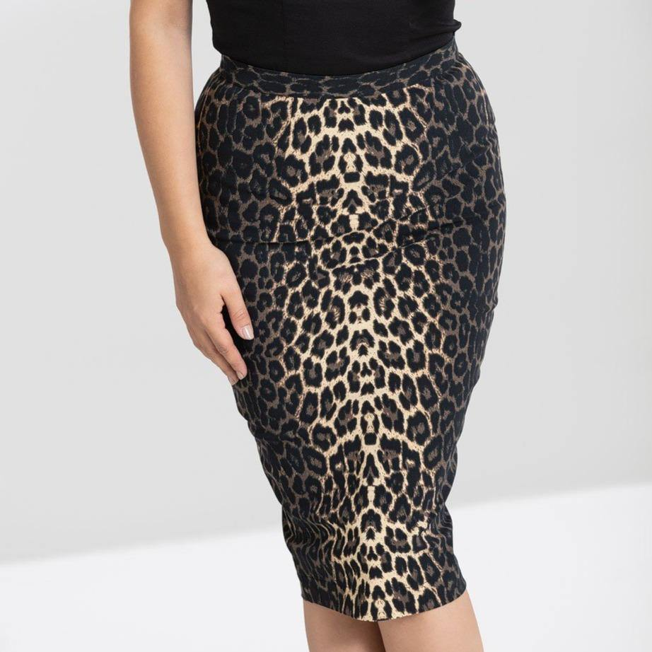 HELL BUNNY PANTHERA LEOPARD PRINT PENCIL SKIRT