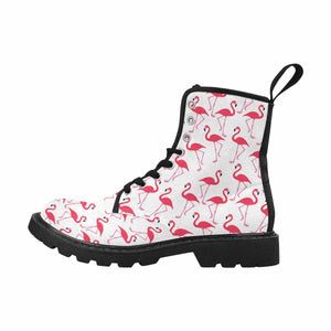 Pink Flamingos Lace Up Combat Boots