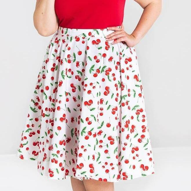 HELL BUNNY SWEETIE WHITE CHERRY PRINT 50'S SKIRT +SIZE