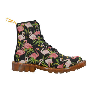 Black Flamingos Women's Lace Up Combat Boots