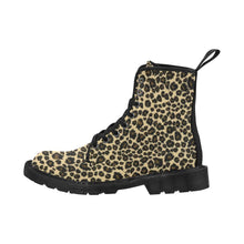 Load image into Gallery viewer, LEOPARD BLACK Women's Lace Up Canvas Boots