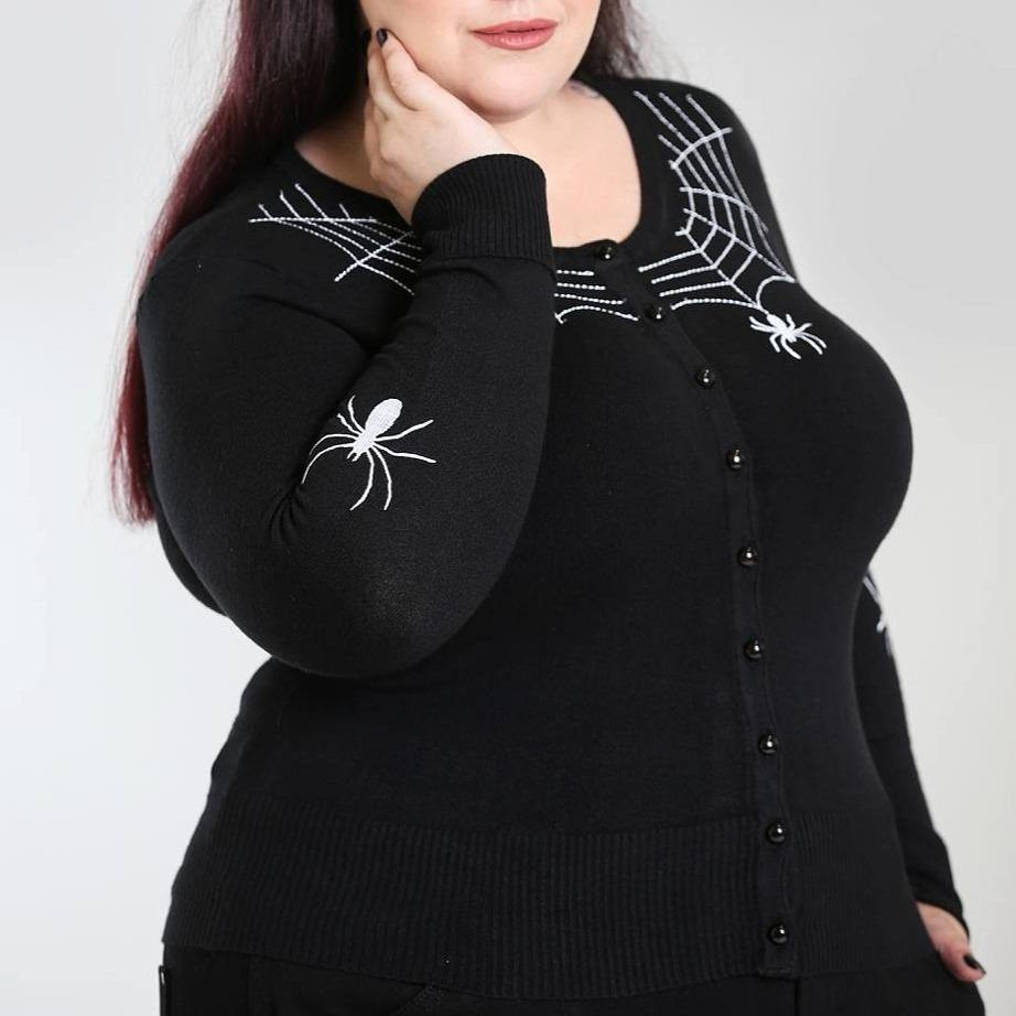 HELL BUNNY SPIDER CARDIGAN BLACK XS-4XL