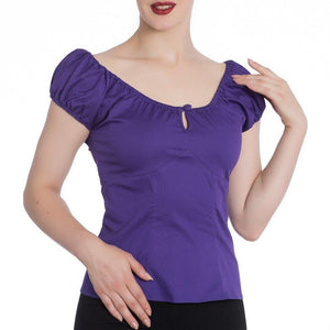 HELL BUNNY MELISSA TOP PURPLE XS to XL