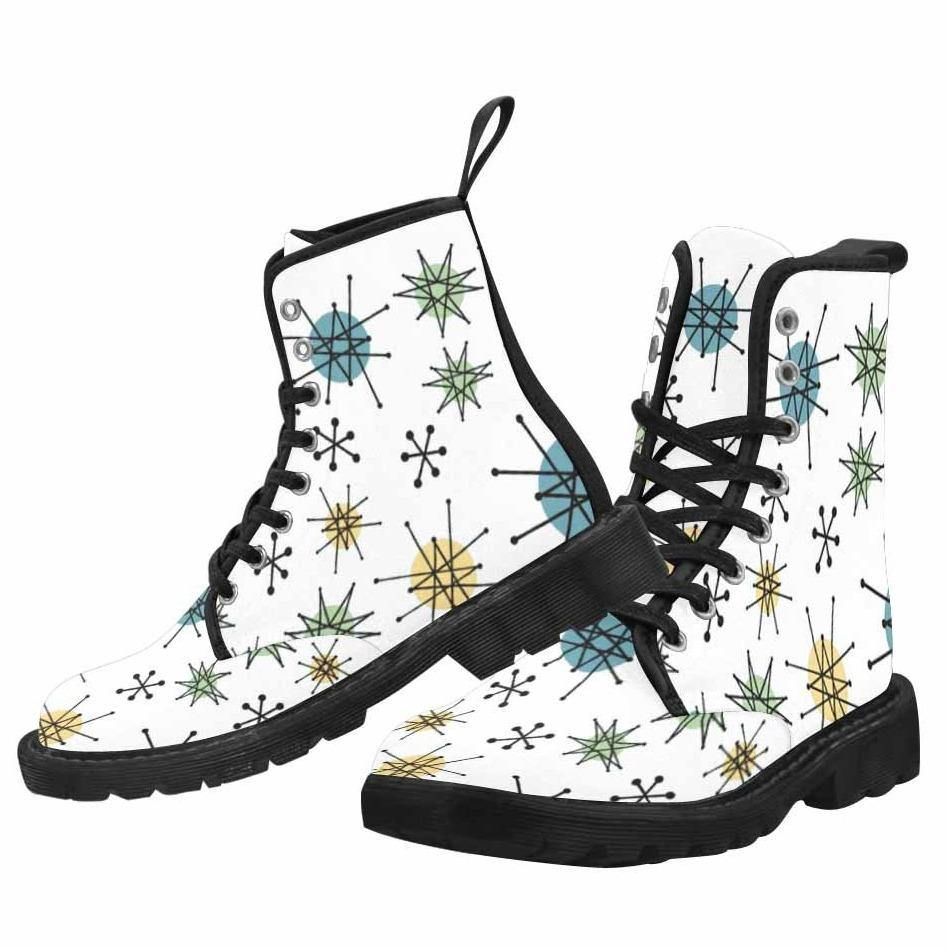 Atomic White Lace Up Combat Boots