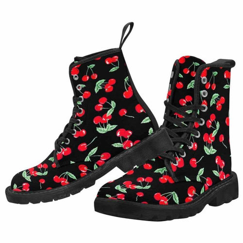 Cherry Pops Women's Lace Up Canvas Boots (Model1203H)(Black)