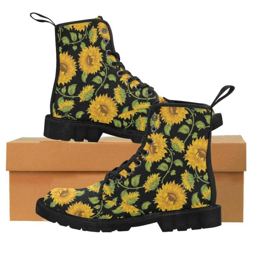 SUNFLOWERS BLACK Women's Lace Up Canvas Boots