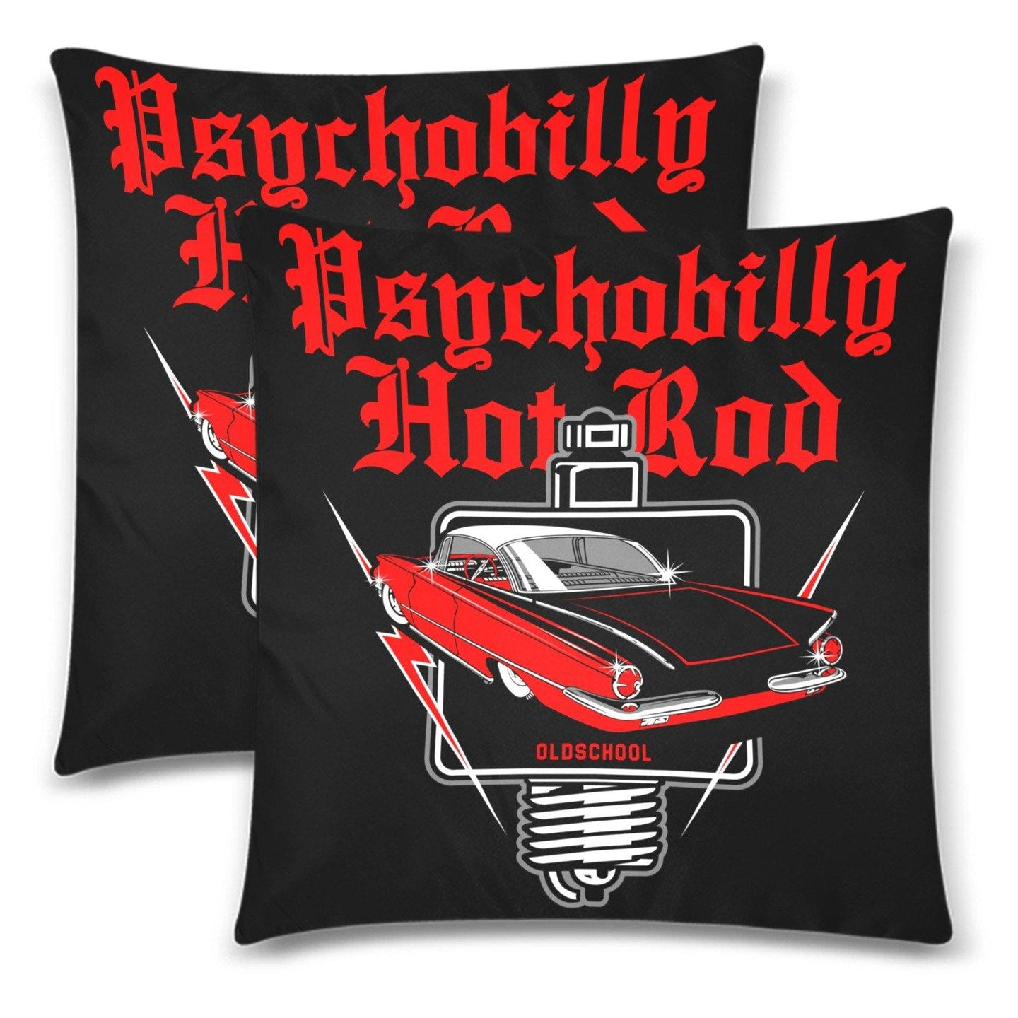 PSYCHOBILLY HOTROD Throw Pillow Cover 18