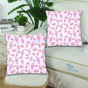 "PINK MILKSHAKES Throw Pillow Cover 18""x 18"" (Twin Sides) (Set of 2)"
