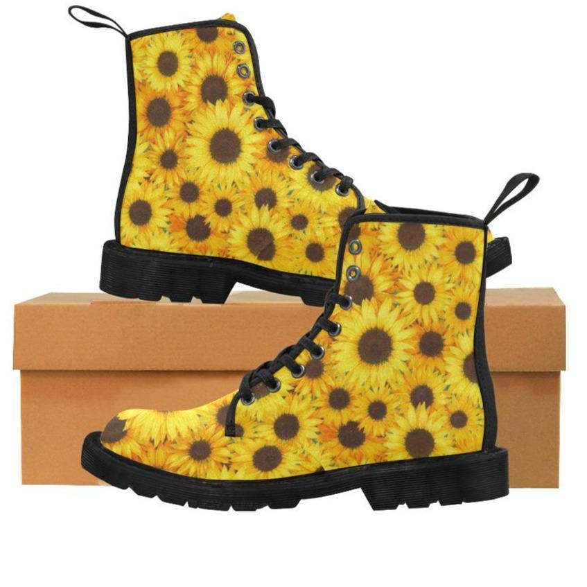 SUNFLOWERS  Women's Lace Up Canvas Boots