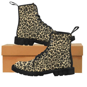 LEOPARD BLACK Women's Lace Up Canvas Boots