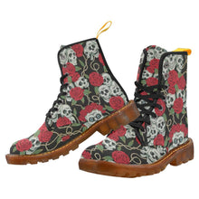 Load image into Gallery viewer, Rose Skulls Women's Lace Up Combat Boots
