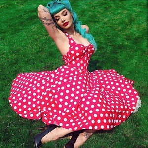 HELL BUNNY ROCKABILLY MARIAM DRESS RED XS to 4XL