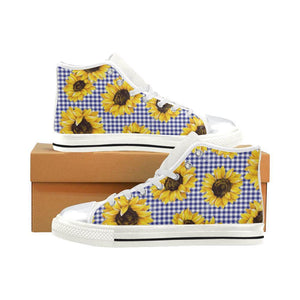 SUNFLOWERS GINGHAM High Top Canvas Kid's Shoes