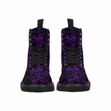 Load image into Gallery viewer, Antique Bats Purple Lace Up Combat Boots